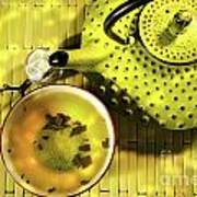 Green Asian Teapot With Cup  Poster
