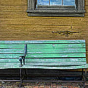 Green Bench At Train Station Poster
