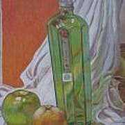 Green Bottle And Fruit. Poster