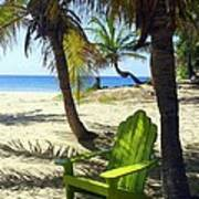 Green Chair On The Beach Poster