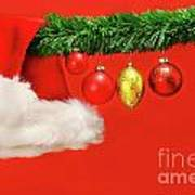 Green Garland With Santa Hat And Ornaments Poster