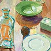 Green Glass And Plates Poster