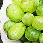 Green Grapes On A Plate Poster