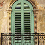 Green Shutters And Balcony In Verona Poster