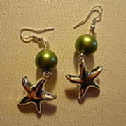 Green Starfish Earrings Poster by Jenna Green