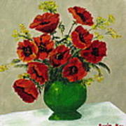 Green Vase Red Poppies Poster