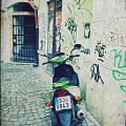 Green Vespa In Prague Poster