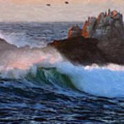 Green Waves Pastel Poster