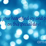 Greeting Card Blue With White Lights Poster
