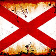 Grunge Style Alabama Flag Poster