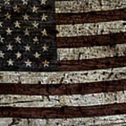 Grungy Wooden Textured Usa Flag2 Poster