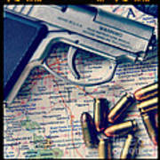 Gun And Bullets On Map Poster