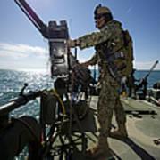 Gunner Mans A M240 Machine Gun Poster