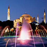 Hagia Sophia At Night Poster by Artur Bogacki