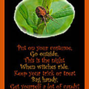 Halloween Card - Spider And Poem Poster