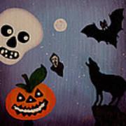 Halloween Night Original Acrylic Painting Placemat Poster