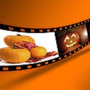 Halloween Pumpkin Film Strip Poster by Amanda Elwell