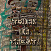 Halloween Trick Or Treat Skeleton Greeting Card Poster