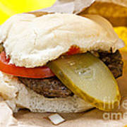 Hamburger With Pickle And Tomato Poster