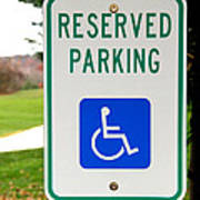 Handicapped Parking Sign Poster by Photo Researchers