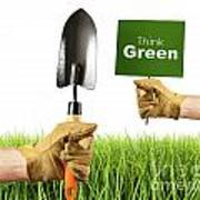 Hands Holding Garden Trowel And Sign Poster