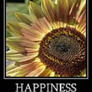 Happiness Peach Sunflower Poster