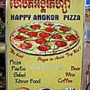 Happy Angkor Pizza Sign Poster