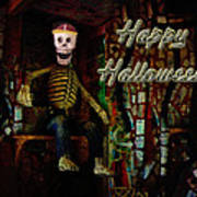 Happy Halloween Skeleton Greeting Card Poster