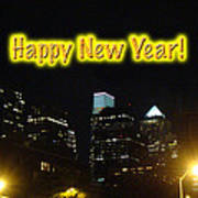 Happy New Year Greeting Card - Philadelphia At Night Poster