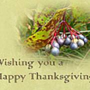 Happy Thanksgiving Greeting Card - Autumn Viburnum Berries Poster