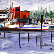 Harbor Fishing Boats Poster