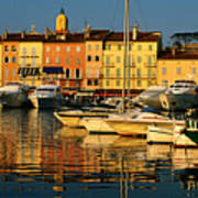 Harbour Boats And Waterfront Houses, St Tropez, Provence-alpes-cote D'azur, France, Europe Poster by David Tomlinson
