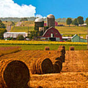 Hay Bales Leading To Barn Poster