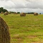 Haybales In Field On Stormy Day Poster by Douglas Barnett