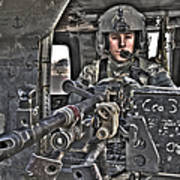 Hdr Image Of A Uh-60 Black Hawk Door Poster