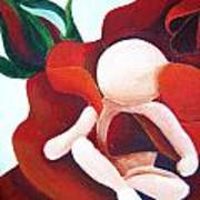 Healing Painting Baby Sitting In A Rose Detail Poster