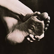 Healthy Sole Of The Foot Held By A Woman's Hand Poster