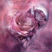 Heart Of A Rose - Mauve Purple Poster