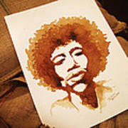 Hendrix Coffee Art Portrait Poster