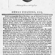 Henry Fielding (1707-1754) Poster