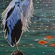 Heron In Blue Poster