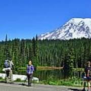 Hikers At Reflection Lake Poster