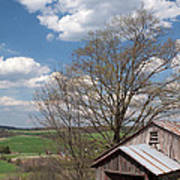 Hillside Weathered Barn Dramatic Spring Sky Poster