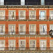 Historic Facade At Plaza Mayor In Madrid Poster