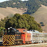 Historic Niles Trains In California . Old Southern Pacific Locomotive And Sante Fe Caboose . 7d10818 Poster
