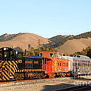 Historic Niles Trains In California . Old Southern Pacific Locomotive And Sante Fe Caboose . 7d10822 Poster