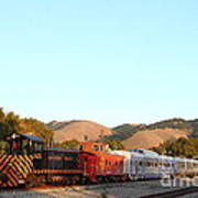 Historic Niles Trains In California . Old Southern Pacific Locomotive And Sante Fe Caboose . 7d10869 Poster by Wingsdomain Art and Photography