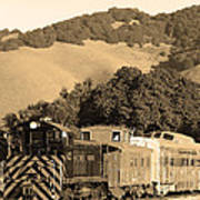 Historic Niles Trains In California.southern Pacific Locomotive And Sante Fe Caboose.7d10819.sepia Poster