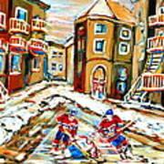 Hockey Art Hockey Game Plateau Montreal Street Scene Poster