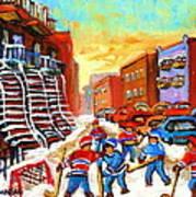 Hockey Art Kids Playing Street Hockey Montreal City Scene Poster